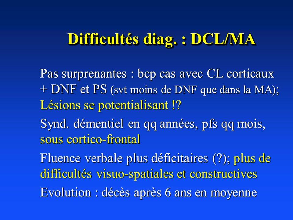 Difficultés diag. : DCL/MA Pas surprenantes : bcp cas avec CL corticaux + DNF et PS (svt moins de DNF que dans la MA) ; Lésions se potentialisant !? S