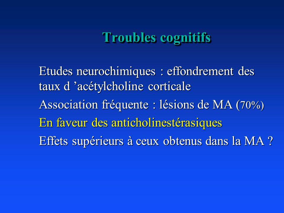 Troubles cognitifs Etudes neurochimiques : effondrement des taux d acétylcholine corticale Association fréquente : lésions de MA ( 70%) En faveur des
