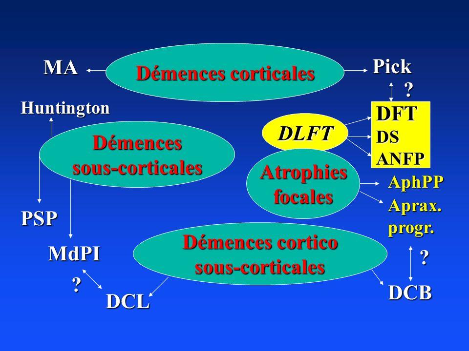 DLFT Démences corticales Démencessous-corticales Atrophiesfocales Démences cortico sous-corticales MA Pick AphPP PSP MdPI DCL ? Aprax.progr. DCB ? Hun