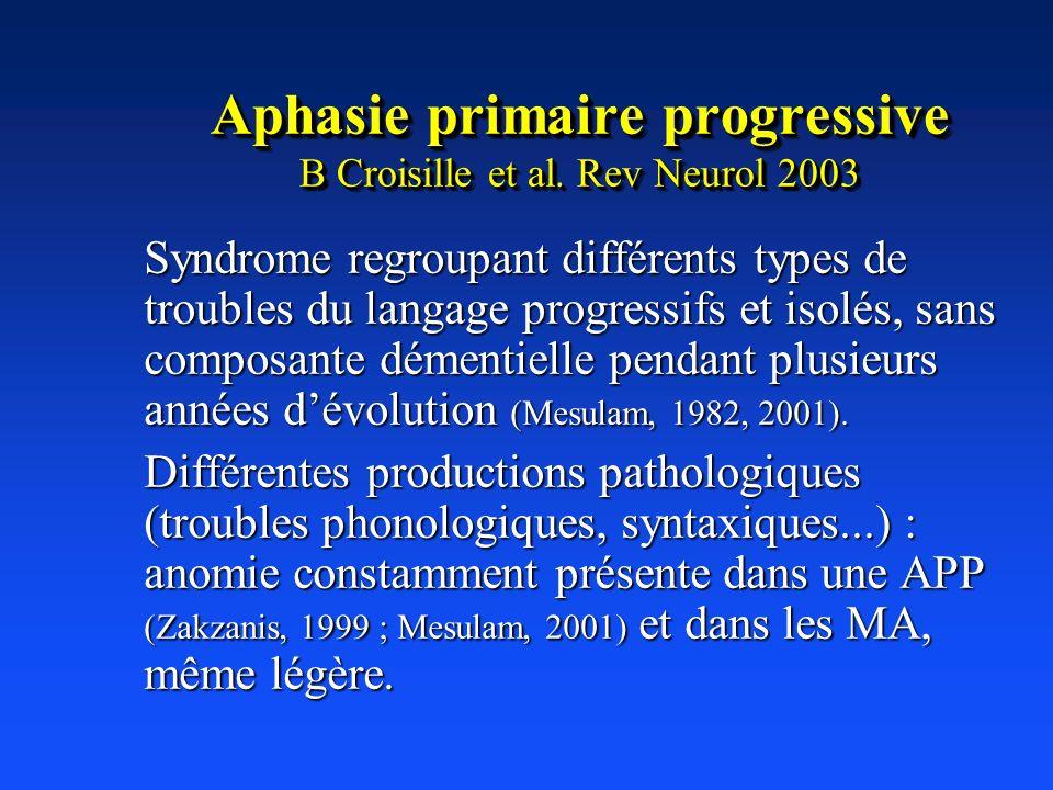 Aphasie primaire progressive B Croisille et al. Rev Neurol 2003 Syndrome regroupant différents types de troubles du langage progressifs et isolés, san