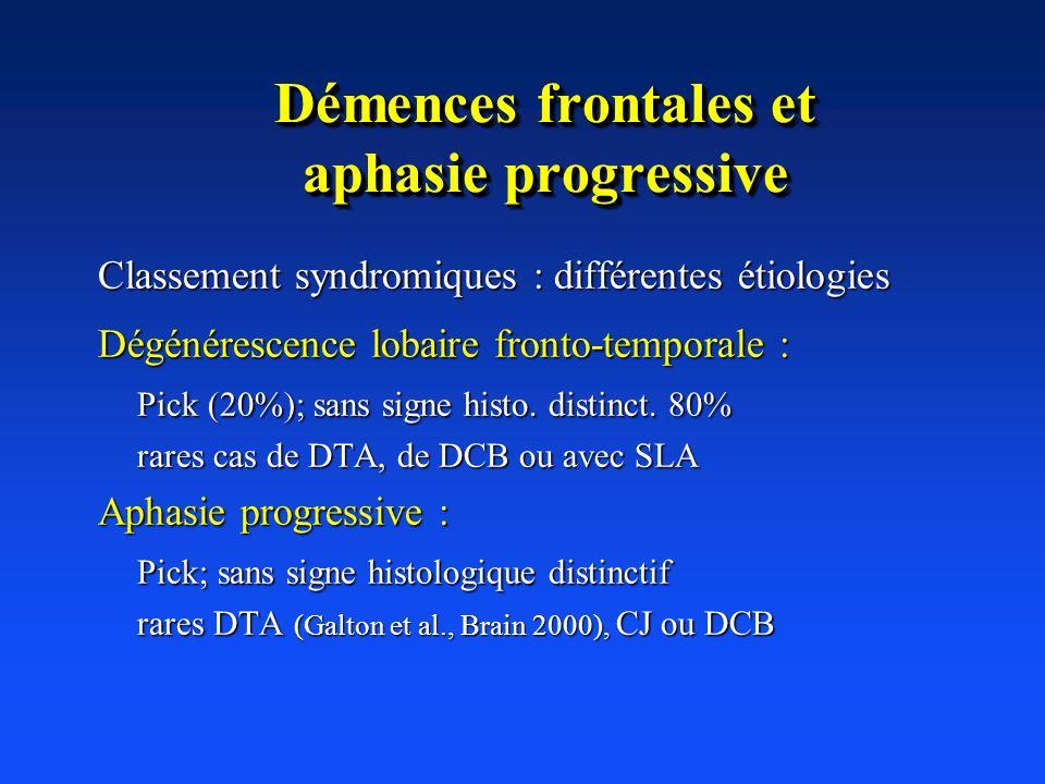 Démences frontales et aphasie progressive Classement syndromiques : différentes étiologies Dégénérescence lobaire fronto-temporale : Pick (20%); sans