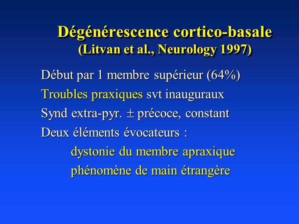 Dégénérescence cortico-basale (Litvan et al., Neurology 1997) Début par 1 membre supérieur (64%) Troubles praxiques svt inauguraux Synd extra-pyr. pré