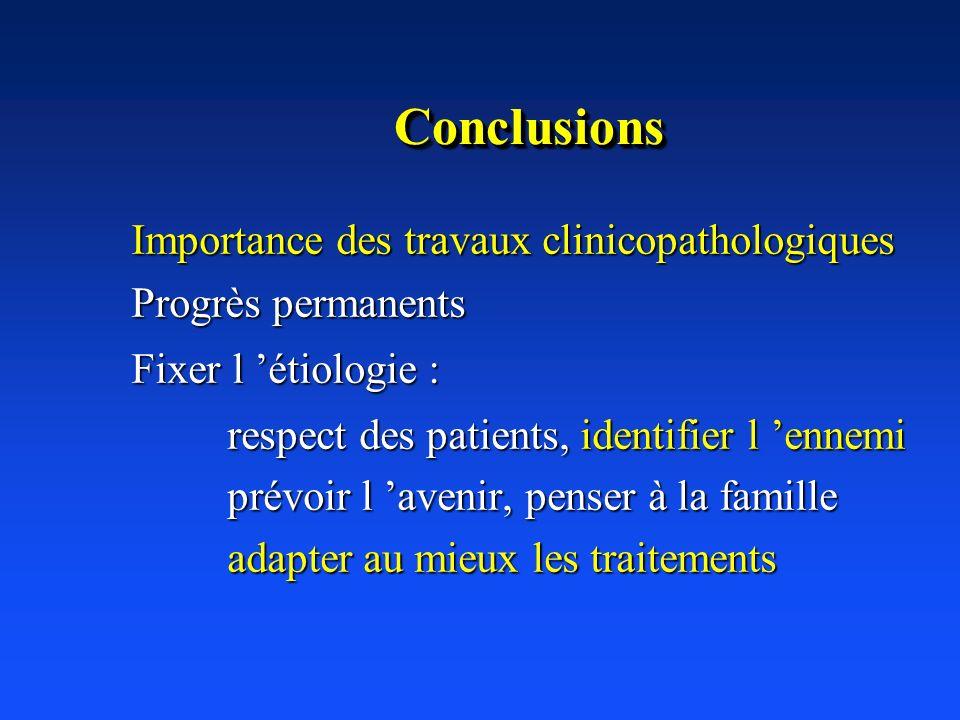 ConclusionsConclusions Importance des travaux clinicopathologiques Progrès permanents Fixer l étiologie : respect des patients, identifier l ennemi pr