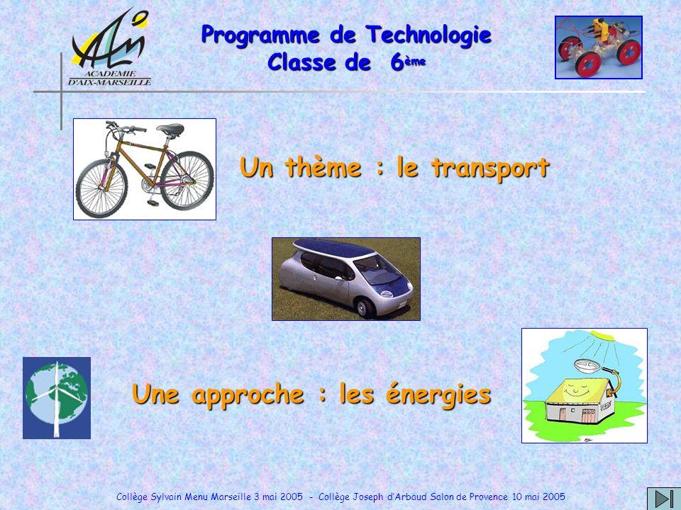 Collège Sylvain Menu Marseille 3 mai 2005 - Collège Joseph dArbaud Salon de Provence 10 mai 2005 Programme de Technologie Classe de 6 ème Un thème : l