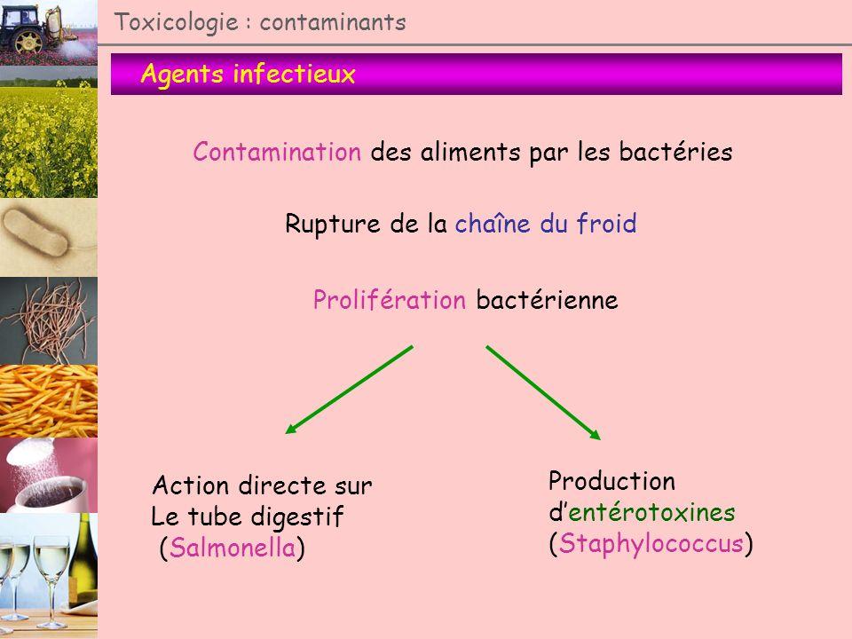 Agents infectieux Toxicologie : contaminants Contamination des aliments par les bactéries Rupture de la chaîne du froid Prolifération bactérienne Acti
