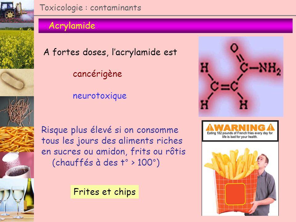 Toxicologie : contaminants Acrylamide A fortes doses, lacrylamide est cancérigène neurotoxique Risque plus élevé si on consomme tous les jours des ali