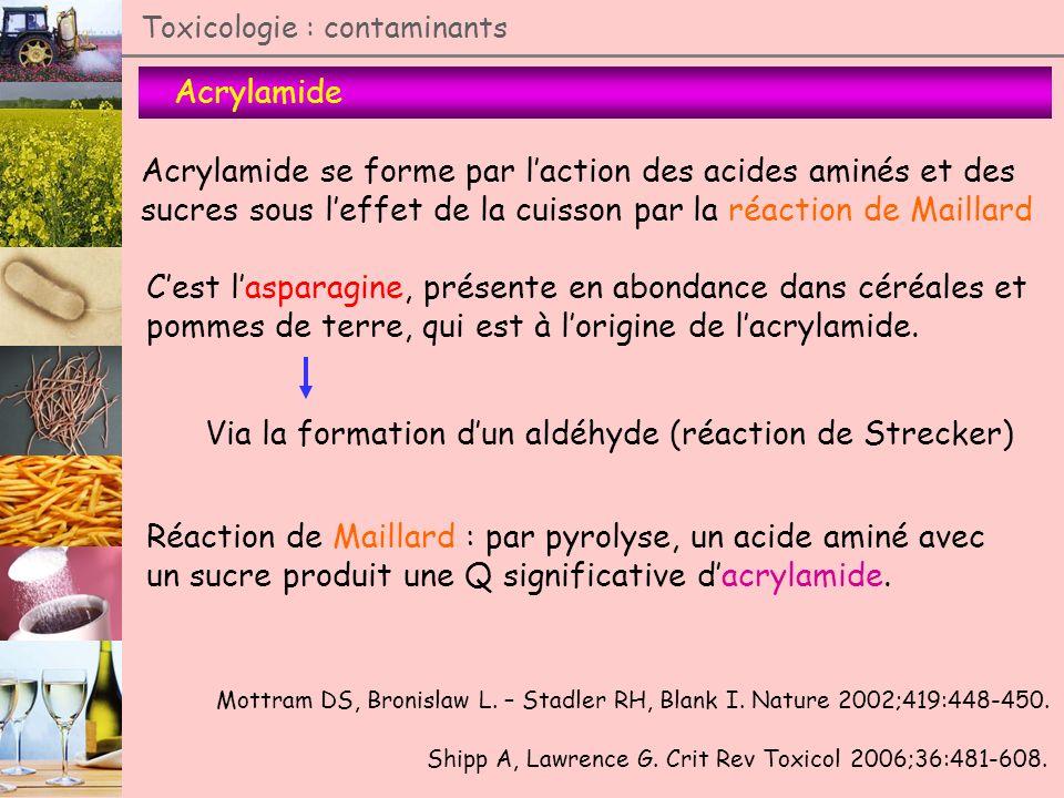 Toxicologie : contaminants Acrylamide Acrylamide se forme par laction des acides aminés et des sucres sous leffet de la cuisson par la réaction de Mai