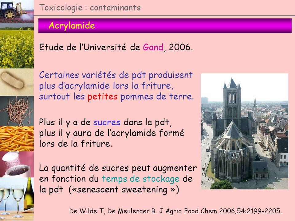 Toxicologie : contaminants Acrylamide De Wilde T, De Meulenaer B. J Agric Food Chem 2006;54:2199-2205. Etude de lUniversité de Gand, 2006. Certaines v