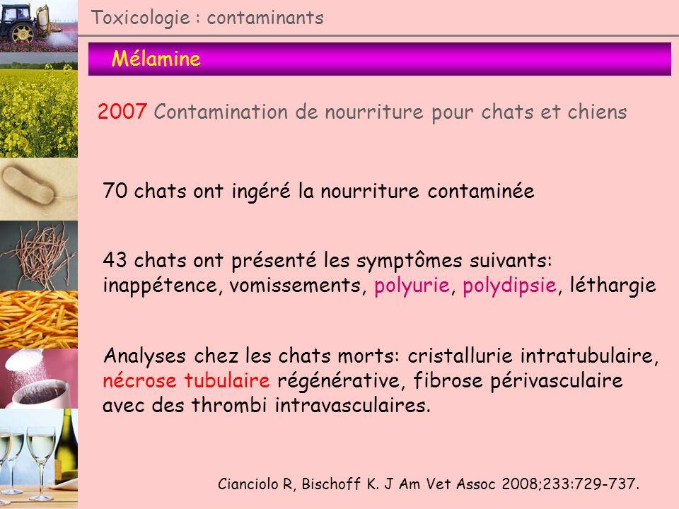 Toxicologie : contaminants Mélamine 2007 Contamination de nourriture pour chats et chiens 70 chats ont ingéré la nourriture contaminée 43 chats ont pr