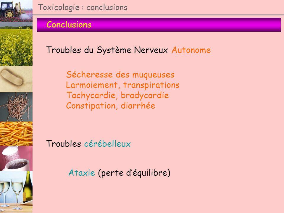 Toxicologie : conclusions Conclusions Troubles du Système Nerveux Autonome Sécheresse des muqueuses Larmoiement, transpirations Tachycardie, bradycard