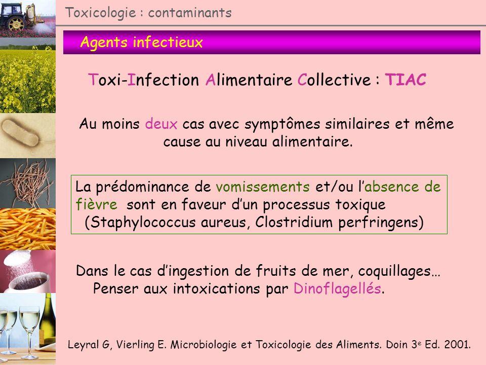 Agents infectieux Toxicologie : contaminants Toxi-Infection Alimentaire Collective : TIAC Au moins deux cas avec symptômes similaires et même cause au