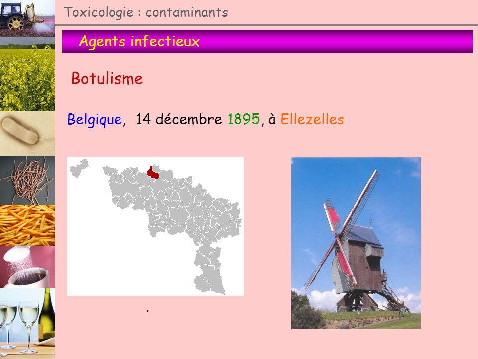 Agents infectieux Toxicologie : contaminants Botulisme Belgique, 14 décembre 1895, à Ellezelles.
