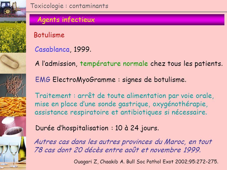 Agents infectieux Toxicologie : contaminants Botulisme Casablanca, 1999. Ouagari Z, Chaakib A. Bull Soc Pathol Exot 2002;95:272-275. A ladmission, tem