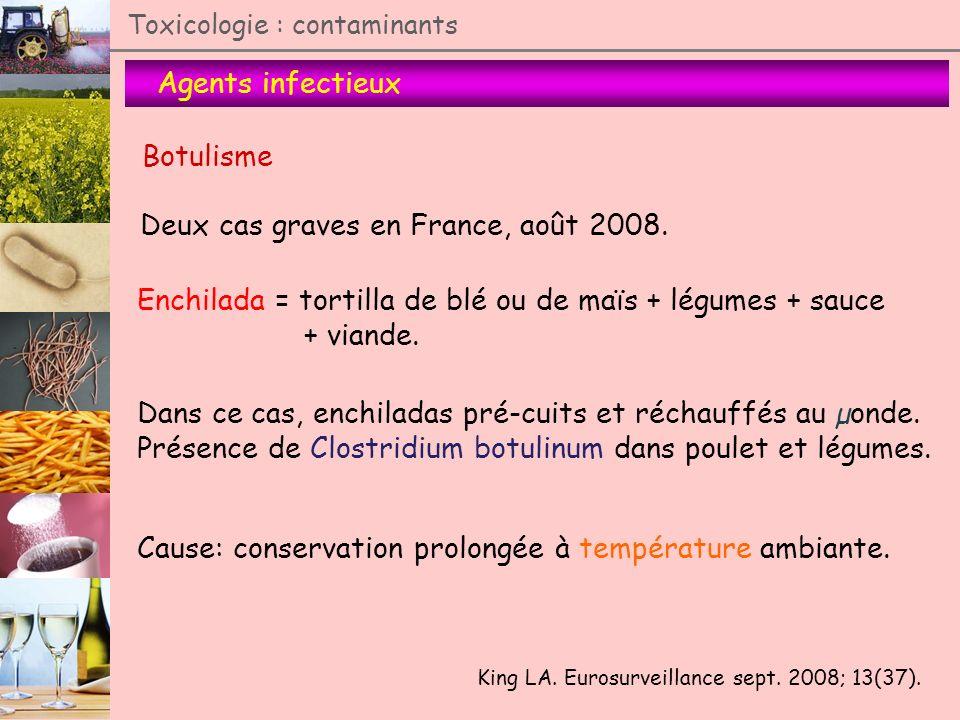 Agents infectieux Toxicologie : contaminants Botulisme Deux cas graves en France, août 2008. King LA. Eurosurveillance sept. 2008; 13(37). Enchilada =