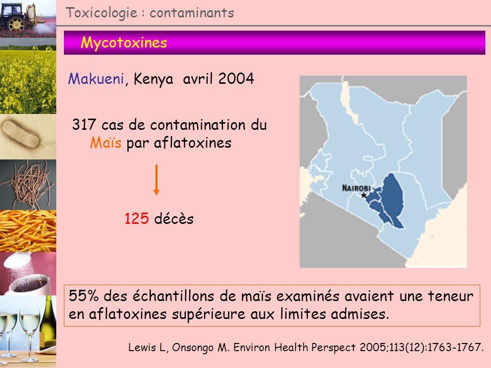 Mycotoxines Toxicologie : contaminants Makueni, Kenya avril 2004 Lewis L, Onsongo M. Environ Health Perspect 2005;113(12):1763-1767. 317 cas de contam