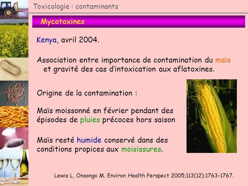Mycotoxines Toxicologie : contaminants Kenya, avril 2004. Association entre importance de contamination du maïs et gravité des cas dintoxication aux a