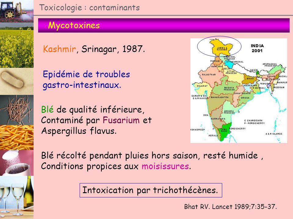 Mycotoxines Toxicologie : contaminants Kashmir, Srinagar, 1987. Bhat RV. Lancet 1989;7:35-37. Epidémie de troubles gastro-intestinaux. Blé de qualité