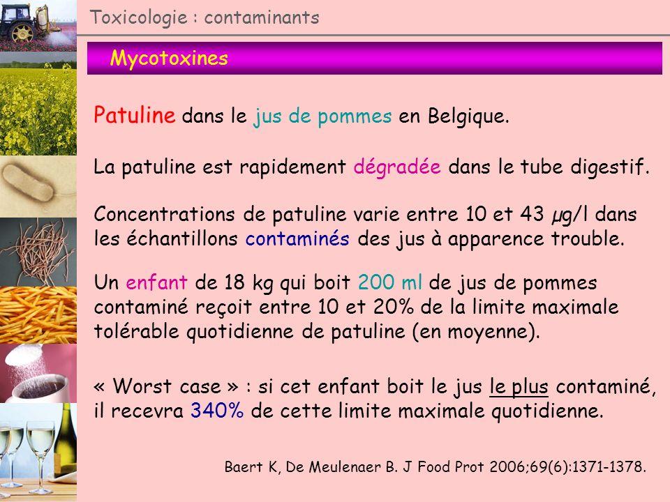 Mycotoxines Toxicologie : contaminants Patuline dans le jus de pommes en Belgique. Baert K, De Meulenaer B. J Food Prot 2006;69(6):1371-1378. La patul
