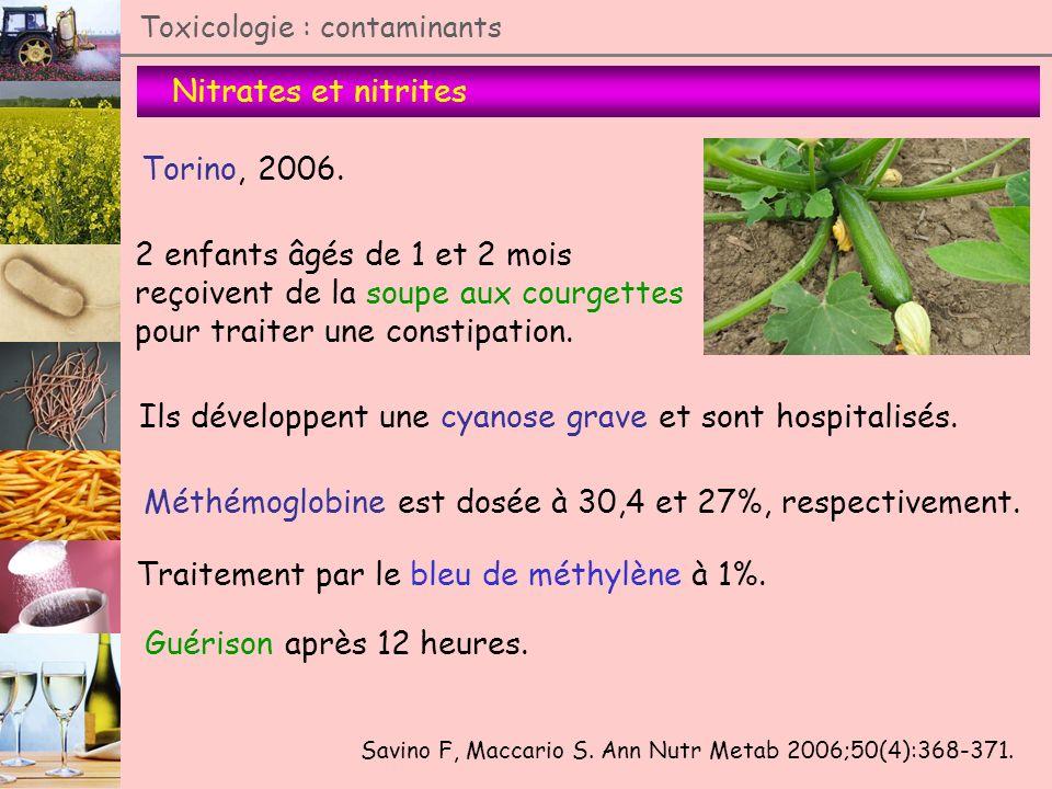 Nitrates et nitrites Toxicologie : contaminants Torino, 2006. 2 enfants âgés de 1 et 2 mois reçoivent de la soupe aux courgettes pour traiter une cons