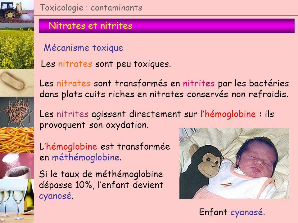 Nitrates et nitrites Toxicologie : contaminants Mécanisme toxique Les nitrites agissent directement sur lhémoglobine : ils provoquent son oxydation. E