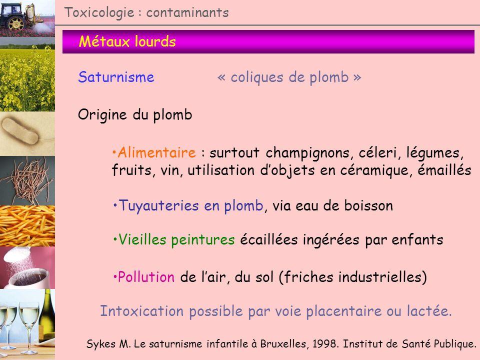 Métaux lourds Toxicologie : contaminants Saturnisme« coliques de plomb » Origine du plomb Alimentaire : surtout champignons, céleri, légumes, fruits,
