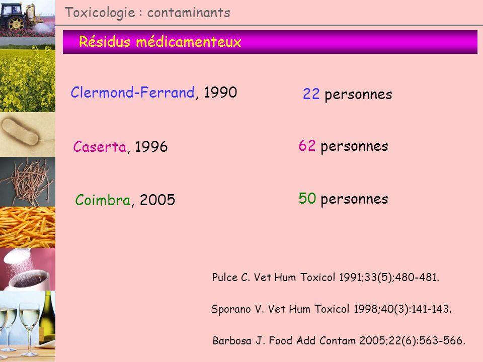 Résidus médicamenteux Toxicologie : contaminants Clermond-Ferrand, 1990 Caserta, 1996 Coimbra, 2005 22 personnes 62 personnes 50 personnes Pulce C. Ve