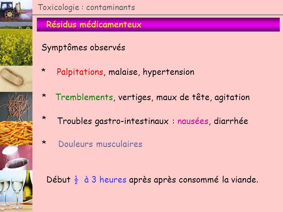 Résidus médicamenteux Toxicologie : contaminants Symptômes observés Palpitations, malaise, hypertension Tremblements, vertiges, maux de tête, agitatio