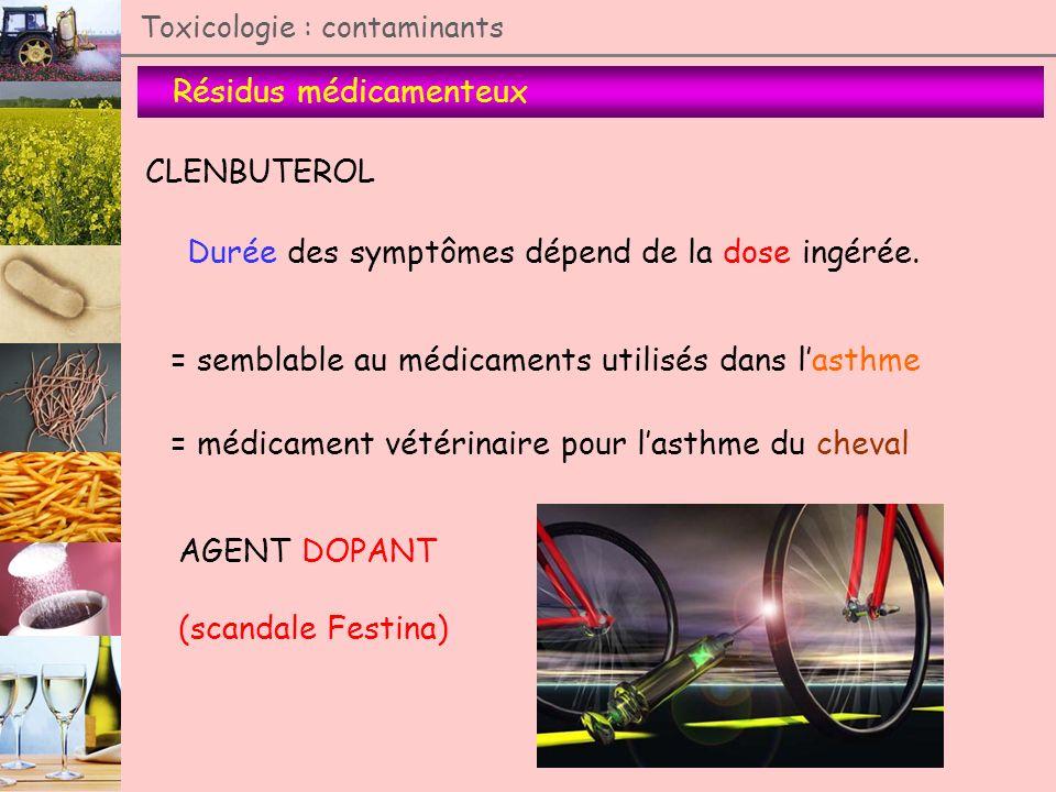 Résidus médicamenteux Toxicologie : contaminants CLENBUTEROL Durée des symptômes dépend de la dose ingérée. = semblable au médicaments utilisés dans l