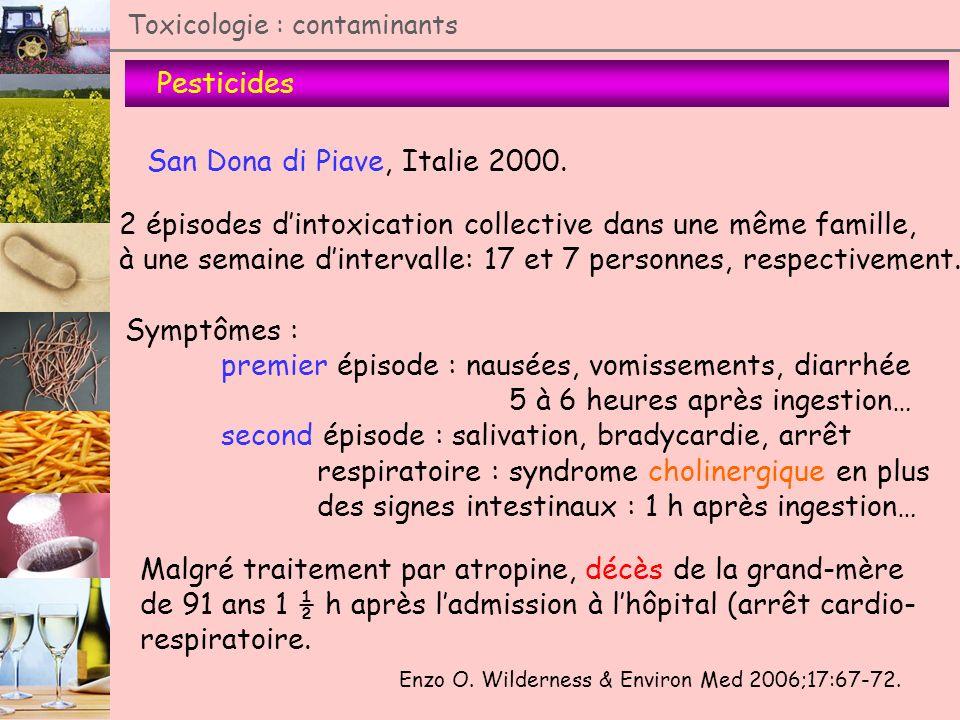 Pesticides Toxicologie : contaminants Enzo O. Wilderness & Environ Med 2006;17:67-72. San Dona di Piave, Italie 2000. 2 épisodes dintoxication collect