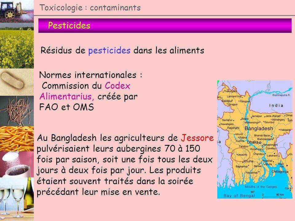 Pesticides Toxicologie : contaminants Résidus de pesticides dans les aliments Normes internationales : Commission du Codex Alimentarius, créée par FAO