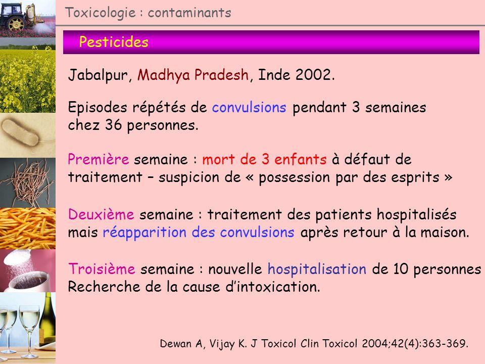 Pesticides Toxicologie : contaminants Jabalpur, Madhya Pradesh, Inde 2002. Dewan A, Vijay K. J Toxicol Clin Toxicol 2004;42(4):363-369. Episodes répét
