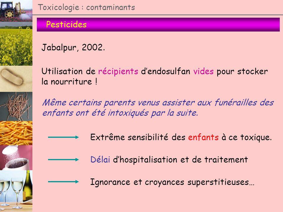 Pesticides Toxicologie : contaminants Jabalpur, 2002. Utilisation de récipients dendosulfan vides pour stocker la nourriture ! Même certains parents v