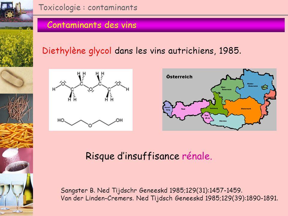 Contaminants des vins Toxicologie : contaminants Diethylène glycol dans les vins autrichiens, 1985. Sangster B. Ned Tijdschr Geneeskd 1985;129(31):145