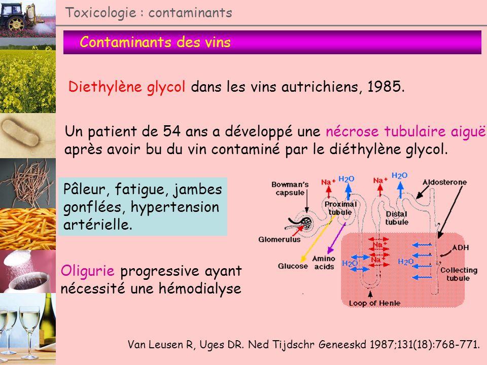 Contaminants des vins Toxicologie : contaminants Diethylène glycol dans les vins autrichiens, 1985. Un patient de 54 ans a développé une nécrose tubul