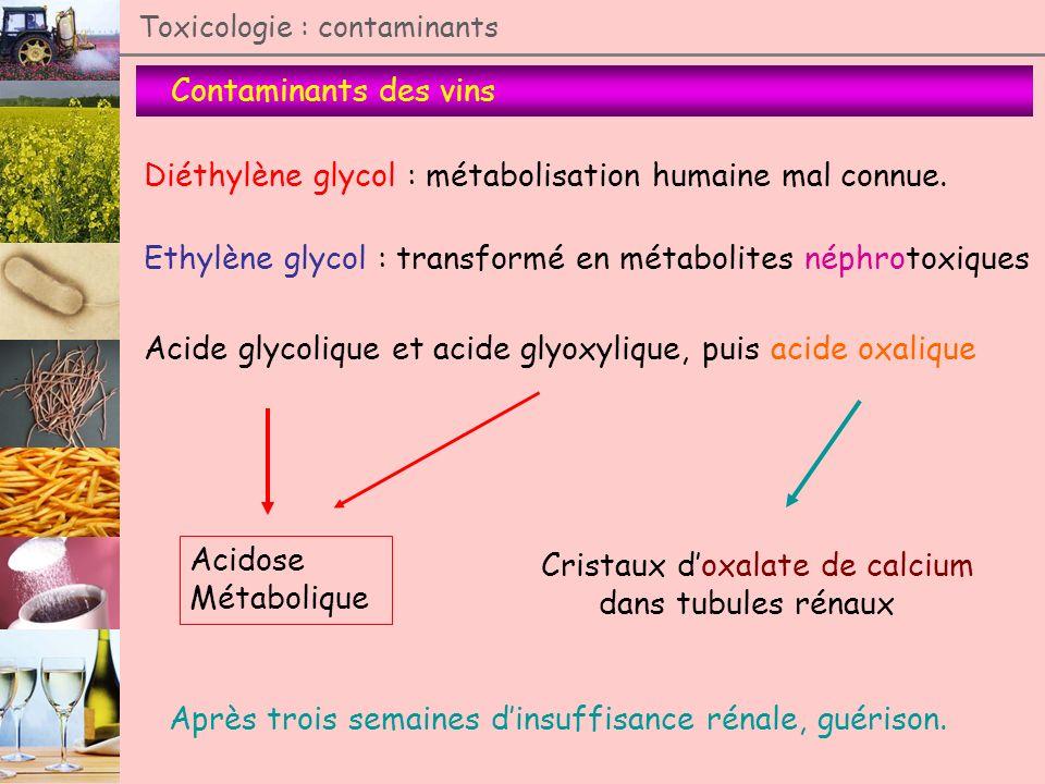 Contaminants des vins Toxicologie : contaminants Diéthylène glycol : métabolisation humaine mal connue. Ethylène glycol : transformé en métabolites né