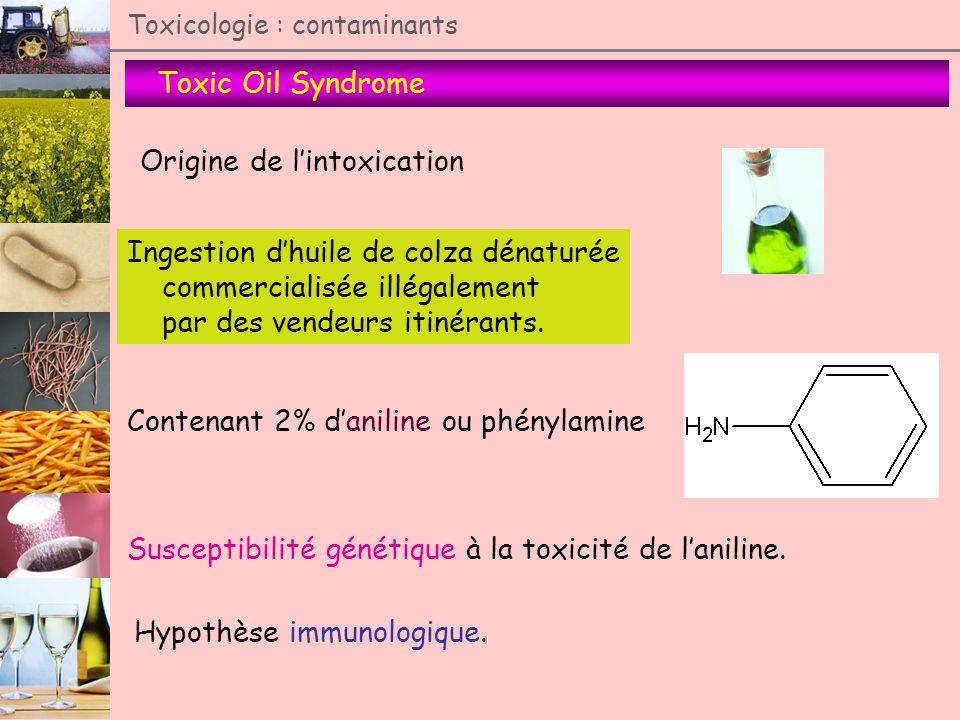 Toxic Oil Syndrome Toxicologie : contaminants Origine de lintoxication Ingestion dhuile de colza dénaturée commercialisée illégalement par des vendeur