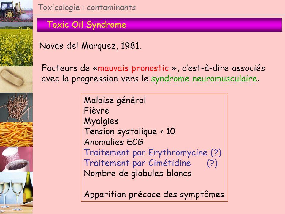 Toxic Oil Syndrome Toxicologie : contaminants Navas del Marquez, 1981. Facteurs de «mauvais pronostic », cest-à-dire associés avec la progression vers
