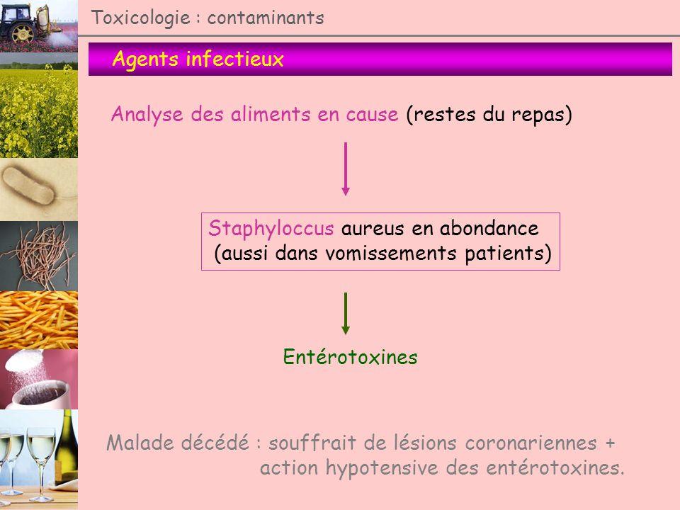 Agents infectieux Toxicologie : contaminants Analyse des aliments en cause (restes du repas) Staphyloccus aureus en abondance (aussi dans vomissements