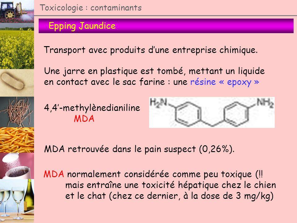Epping Jaundice Toxicologie : contaminants Transport avec produits dune entreprise chimique. Une jarre en plastique est tombé, mettant un liquide en c