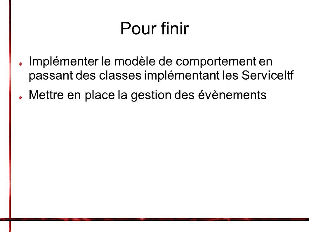 Pour finir Implémenter le modèle de comportement en passant des classes implémentant les ServiceItf Mettre en place la gestion des évènements