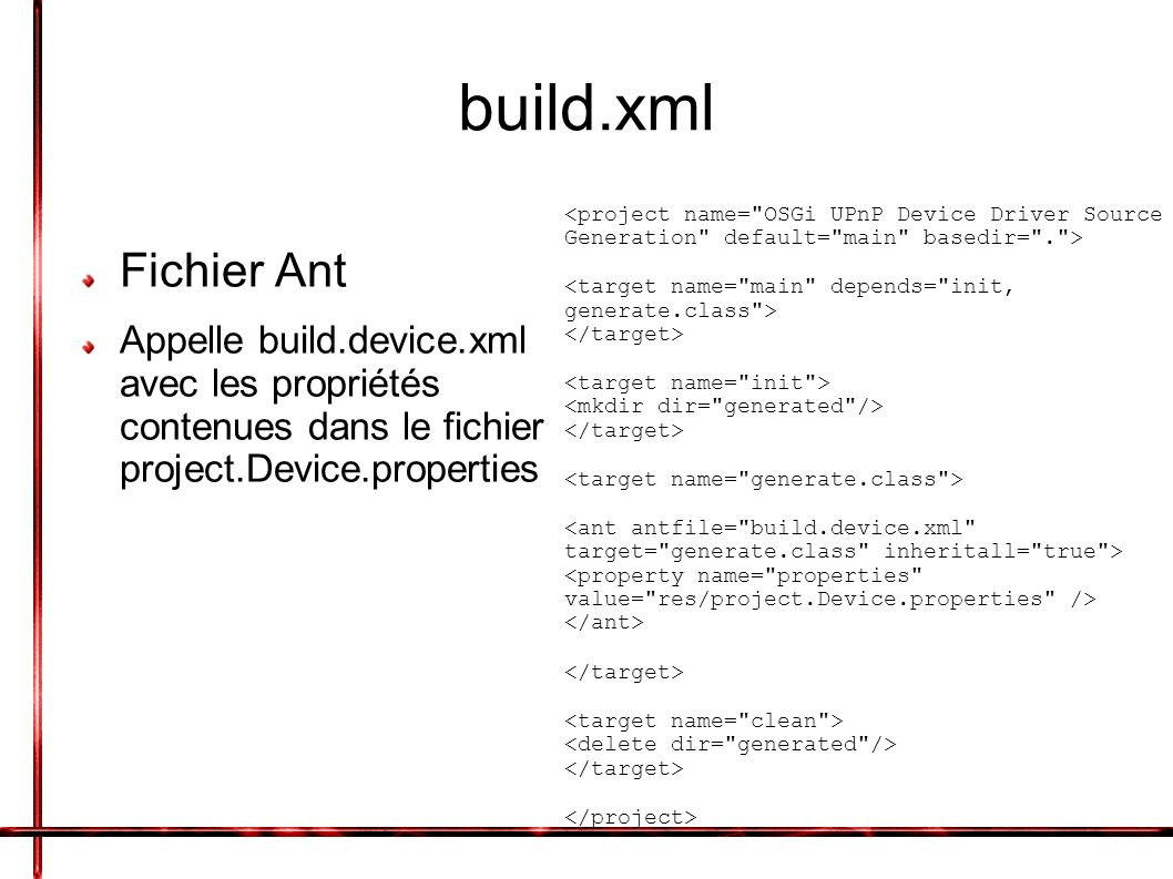 project.Device.properties Fichier contenant: Le chemin du fichier Device.xml Le package dans lequel on veut mettre le device Nom du device device.description.xml.file= « chemin du Device.xml » package= « package de destination » device.name= « nom du Device »