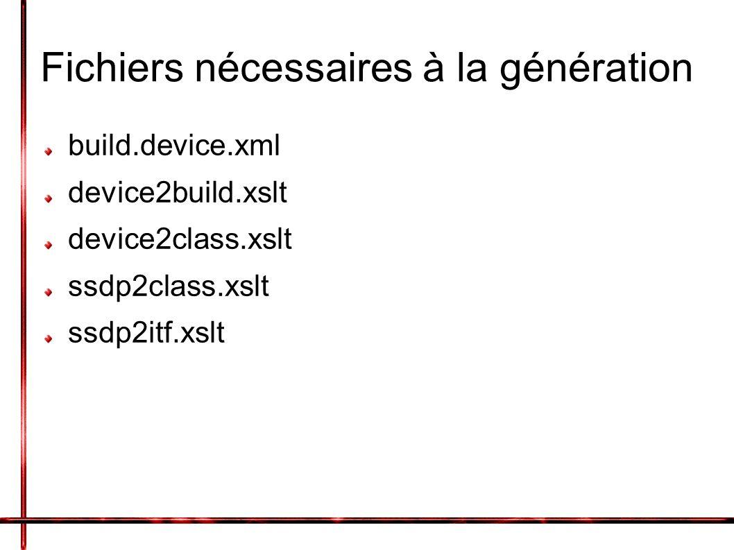 Fichiers nécessaires à la génération build.device.xml device2build.xslt device2class.xslt ssdp2class.xslt ssdp2itf.xslt