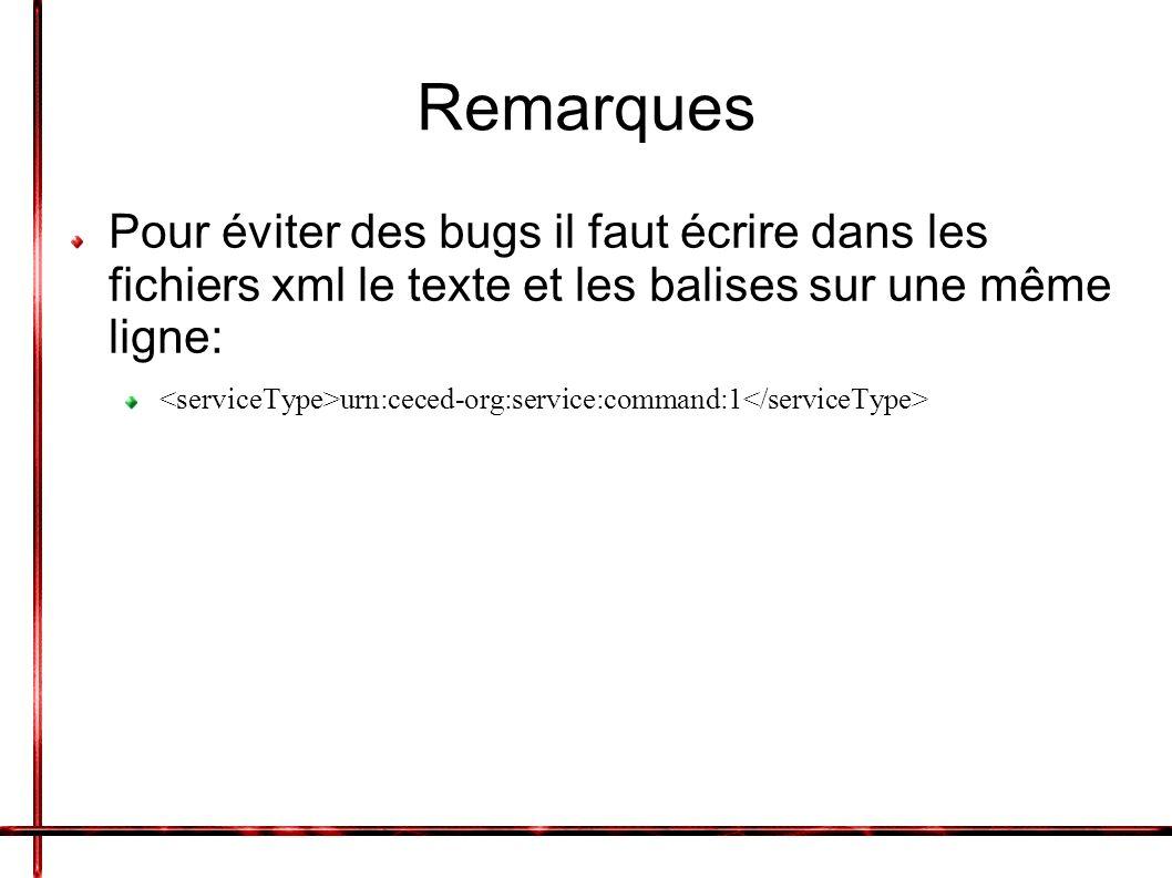 Remarques Pour éviter des bugs il faut écrire dans les fichiers xml le texte et les balises sur une même ligne: urn:ceced-org:service:command:1