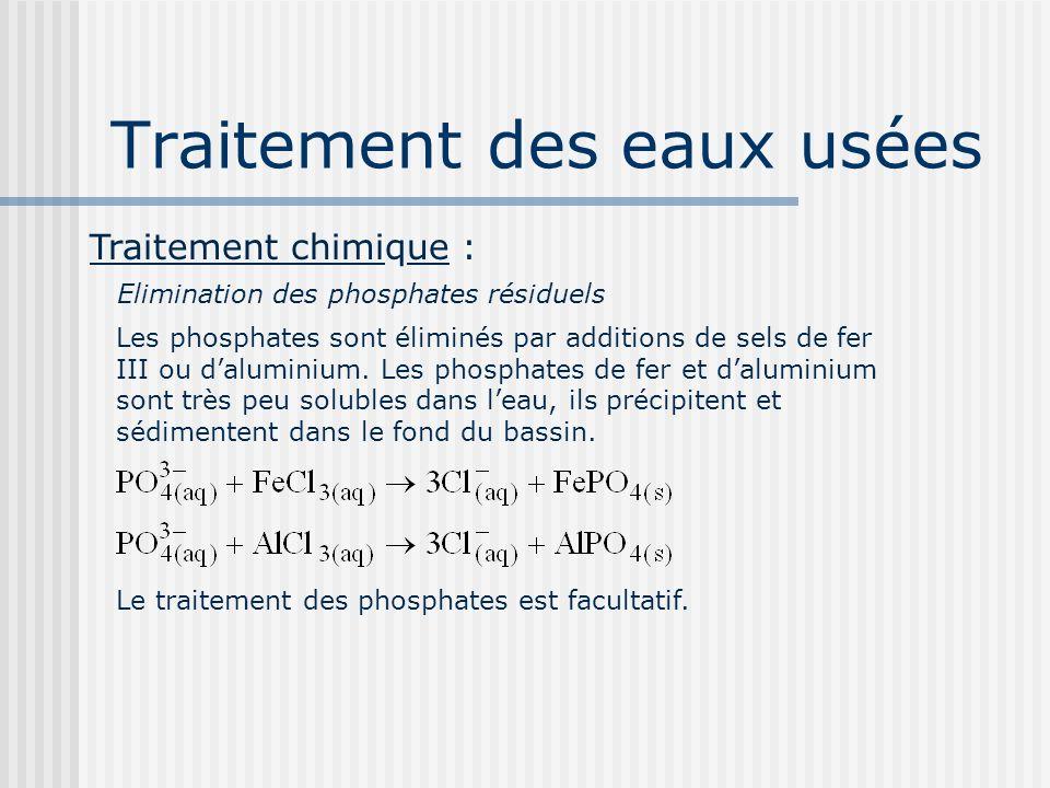 Traitement des eaux usées Traitement chimique : Elimination des phosphates résiduels Les phosphates sont éliminés par additions de sels de fer III ou
