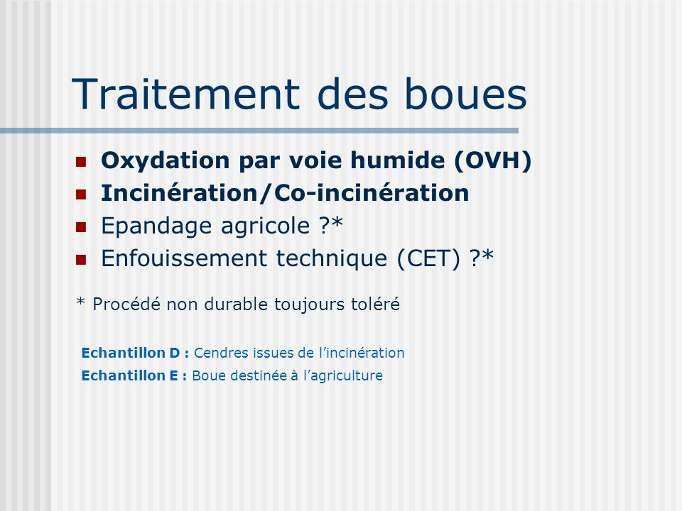 Traitement des boues Oxydation par voie humide (OVH) Incinération/Co-incinération Epandage agricole ?* Enfouissement technique (CET) ?* * Procédé non