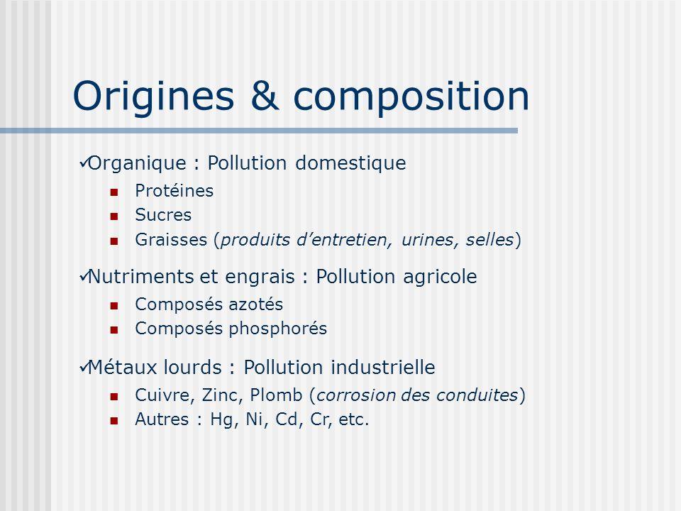 Origines & composition Protéines Sucres Graisses (produits dentretien, urines, selles) Organique : Pollution domestique Composés azotés Composés phosp