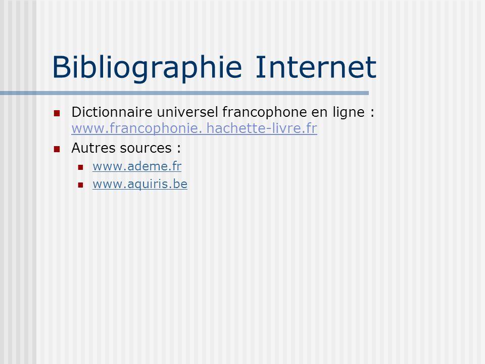 Bibliographie Internet Dictionnaire universel francophone en ligne : www.francophonie. hachette-livre.fr Autres sources : www.ademe.fr www.aquiris.be