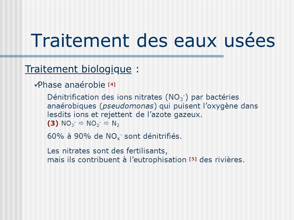 Traitement des eaux usées Traitement biologique : Phase anaérobie [4] Dénitrification des ions nitrates (NO 3 - ) par bactéries anaérobiques (pseudomo