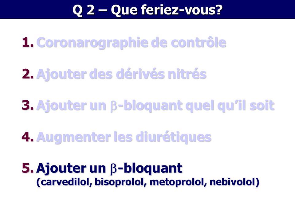 1.Coronarographie de contrôle 2.Ajouter des dérivés nitrés 3.Ajouter un -bloquant quel quil soit 4.Augmenter les diurétiques 5.Ajouter un -bloquant (c