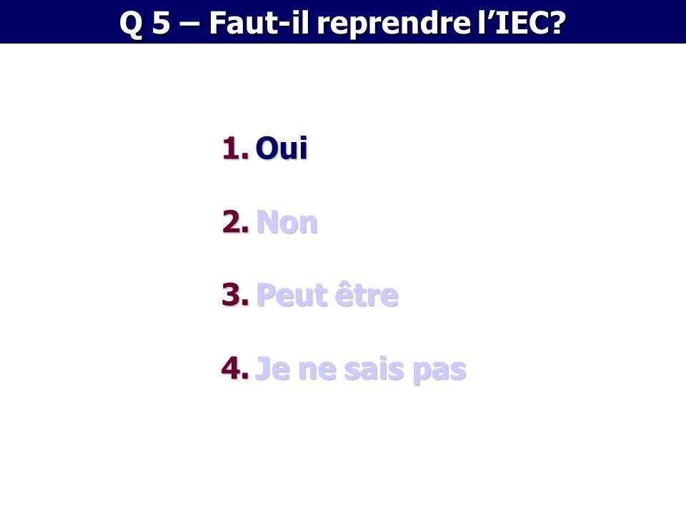 1.Oui 2.Non 3.Peut être 4.Je ne sais pas Q 5 – Faut-il reprendre lIEC?